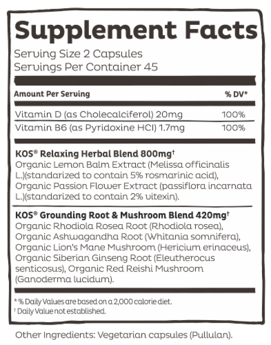 KOS At Ease Soldier! De-Stress Capsules Perspective: left