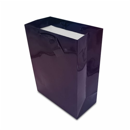 12 . Black Holographic Paper Gift Bags with Rope Handles and Hang Tag Shopping Bag Perspective: left