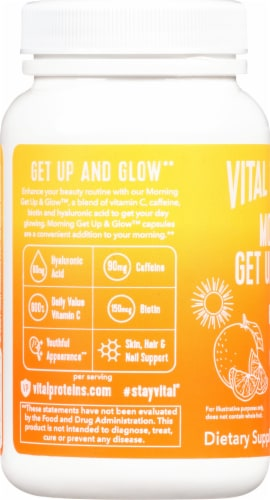 Vital Proteins Morning Get Up & Glow Supplement Capsules Perspective: left