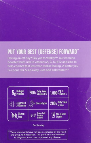 Vital Proteins Grape Citrus Vitality Immune Booster Packets Perspective: left