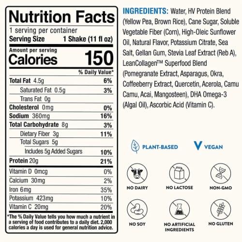 Happy Viking Vanilla Bean Plant Protein Shake Perspective: left