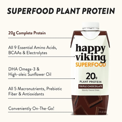 Happy Viking Triple Chocolate Plant Protein Shake Perspective: left