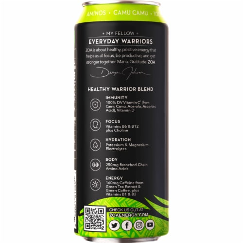 ZOA™ Zero Sugar Lemon Lime Energy Drink Perspective: left