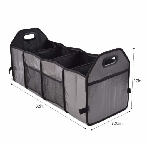 Foldable Trunk Organizer Functional Cargo Storage Divider Bag, 4 Compartments Portable Bag Perspective: left
