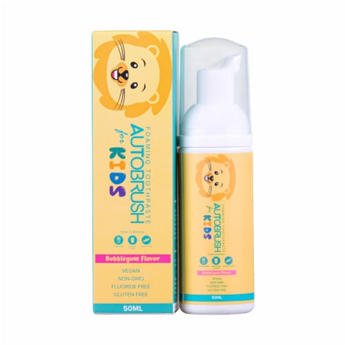 AutoBrush Foaming Kids Bubblegum Toothpaste - Fluoride-Free - New October 2020 Formula Perspective: left