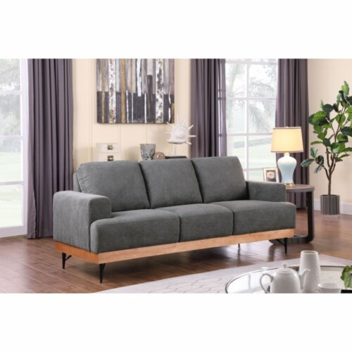 Devion Furniture Modern Fabric Chair-Loveseat & 3 Seater Sofa Set in Gray Perspective: left
