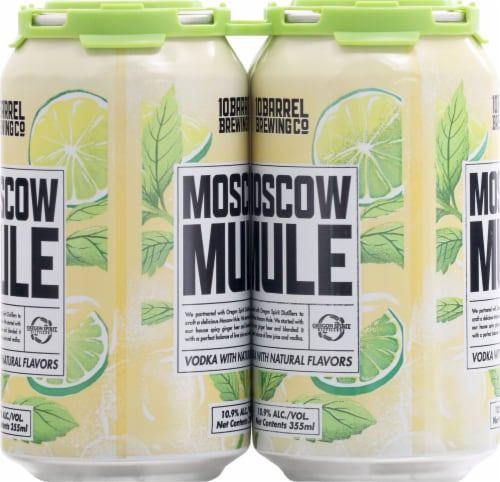 10 Barrel Brewing Moscow Mule Prepared Cocktail 4 Cans Perspective: left