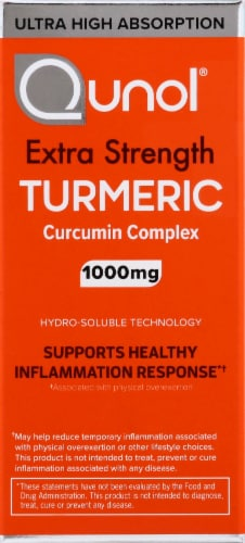 Qunol Extra Strength Turmeric Curcumin Complex Dietary Supplement Softgels 1000mg 30 Count Perspective: left