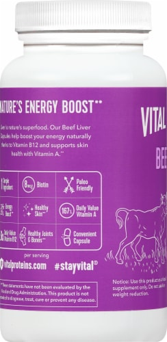 Vital Proteins Beef Liver Pasture-Raised Capsules 750mg Perspective: left