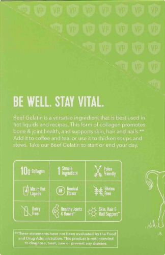 Vital Proteins 100% Pure Unflavored Collagen Protein Beef Gelatin Perspective: left