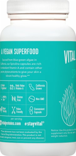 Vital Proteins Spirulina Capsules 650mg Perspective: left
