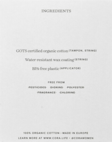 Cora Organic Light Cotton Tampons 16 Count Perspective: left