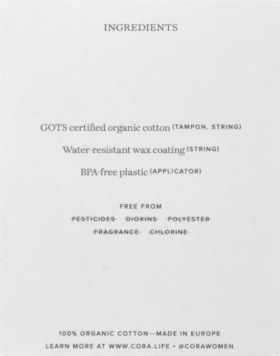 Cora Organic Light Cotton Tampons Perspective: left