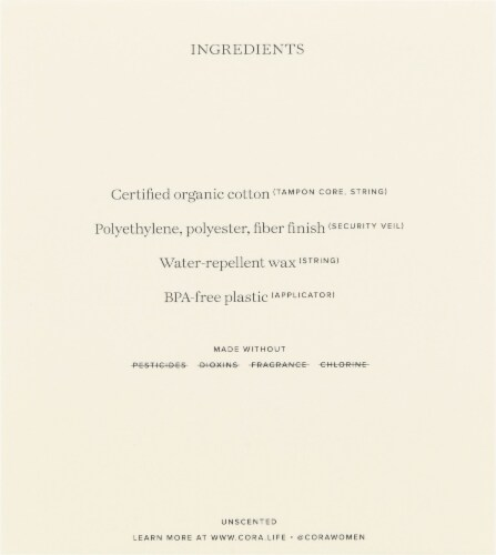 Cora Organic Cotton Regular Tampons Perspective: left