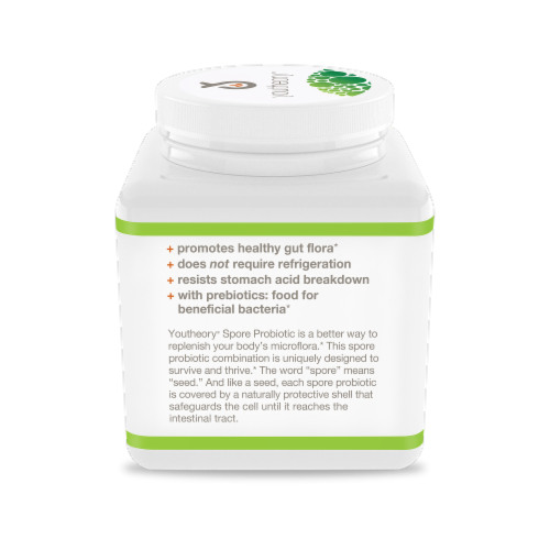 Youtheory® Spore Probiotic Plus Prebiotic Powder Perspective: left