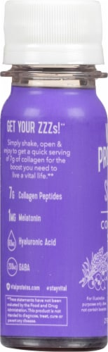 Vital Proteins Sleep Collagen Shot Blueberry & Lavender Dietary Supplement Perspective: left