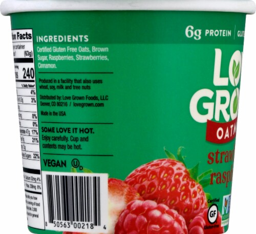 Love Grown Strawberry Raspberry Hot Oats Perspective: left