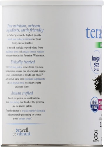 Tera's Whey Grass Fed Bourbon Vanilla Simply Pure Whey Protein Perspective: left