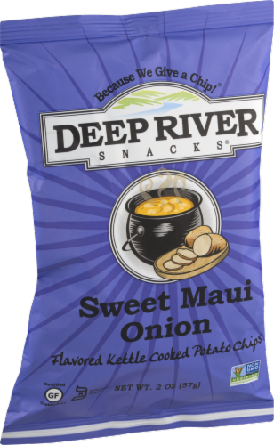 Deep River Snacks Sweet Maui Onion Kettle Cooked Potato Chips Perspective: left