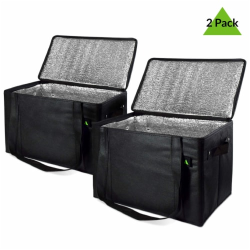 Insulated Grocery Bag Zippered Top, Reusable Shopping Tote, Collapsible Cooler With Handles Perspective: left