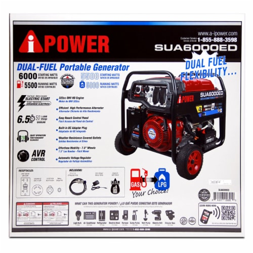 A-iPower SUA6000ED 6000W Portable Gas & Propane Powered Generator w/ 4 Gal Tank Perspective: left