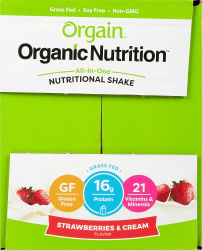 Orgain Organic Strawberries & Cream Nutritional Shake 12 Count Perspective: left