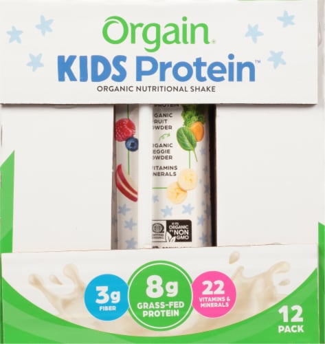 Orgain Kids Protein Organic Vanilla Nutritional Shakes Perspective: left