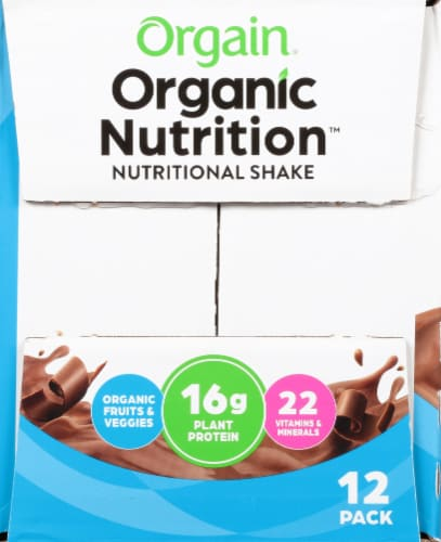 Orgain Organic Nutrition Vegan Smooth Chocolate All-In-One Nutritional Shake Perspective: left