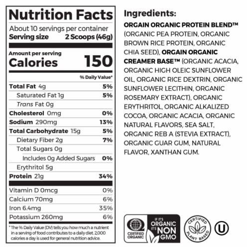 Orgain Organic Creamy Chocolate Fudge Flavor Protein Plant-Based Powder Perspective: left