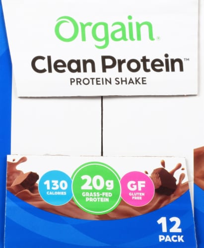 Orgain Clean Protein Grass Fed Creamy Chocolate Fudge Protein Shake Perspective: left