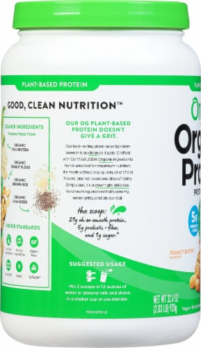 Orgain Organic Peanut Butter Plant Based Protein Powder Perspective: left