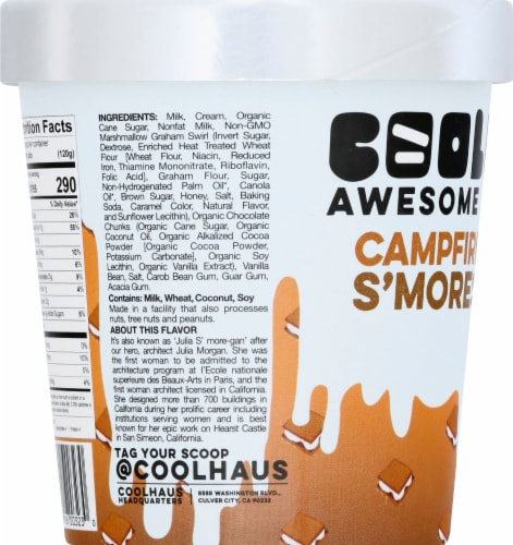Coolhaus Campfire S'mores Vanilla Marshmallow Ice Cream Perspective: left