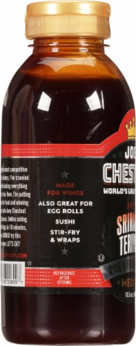 Joey Chestnut Medium Sweet Sriracha Teriyaki Wing & Finishing Sauce Perspective: left