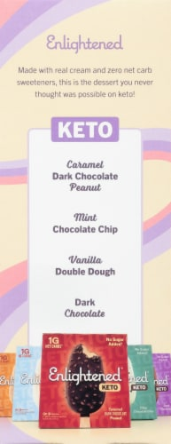 Enlightened Keto Collection Peanut Butter Chocolate Chip Ice Cream Bar Perspective: left