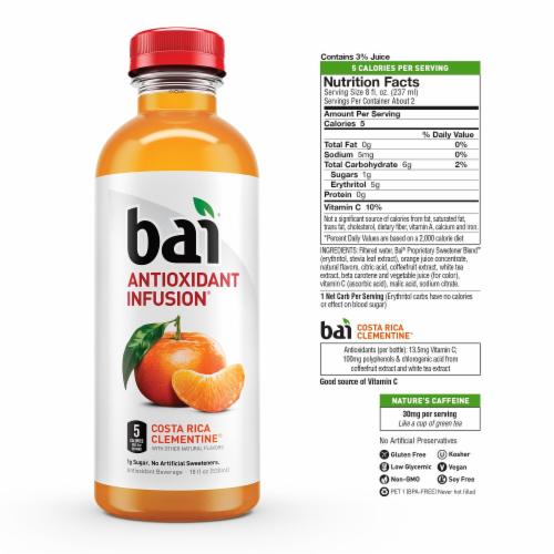 Bai Costa Rica Clementine Antioxidant Infused Beverage 6 x 18 fl oz Perspective: left