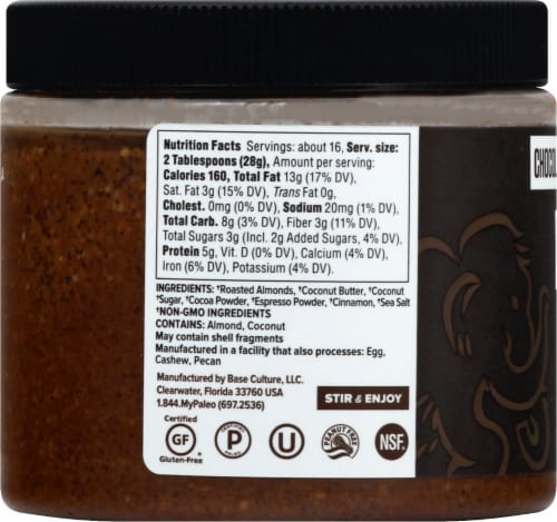 Base Culture Chocolate Espresso Almond Butter Perspective: left