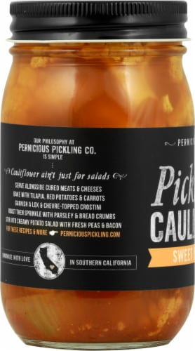 Pernicious Pickling Co. Sweet Hurry Curry Pickled Cauliflower Perspective: left