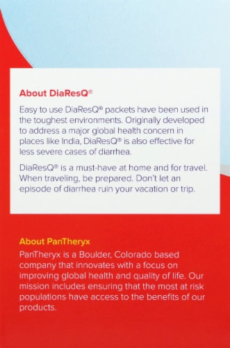 DiaResQ Vanilla Flavor Rapid Recovery Diarrhea Relief Drink Mix Packets Perspective: left