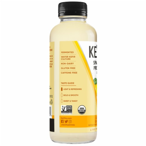 Kevita Sparkling Probiotic Drink Lemon Ginger Perspective: left