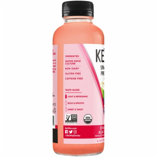 Kevita Sparkling Probiotic Drink Strawberry Acai Coconut Perspective: left