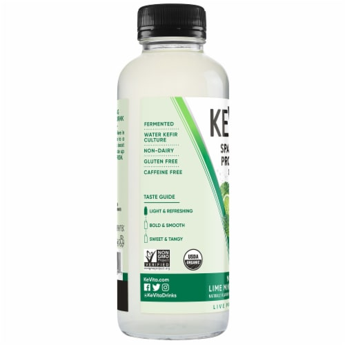 Kevita Mojito Lime Mint Coconut Sparkling Probiotic Drink Perspective: left
