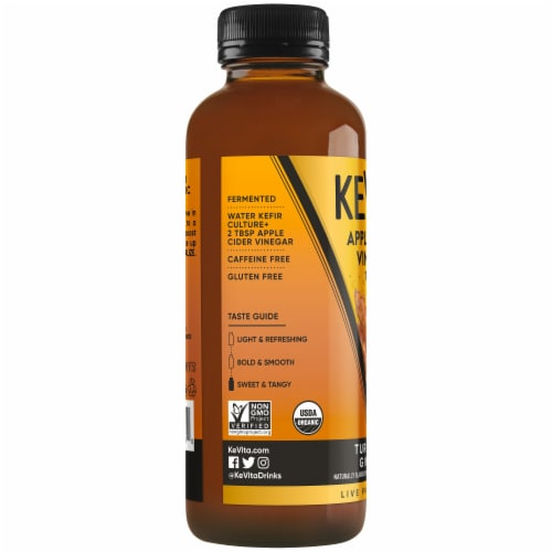 Kevita Apple Cider Vinegar Tonic Drink Tumeric Ginger Perspective: left