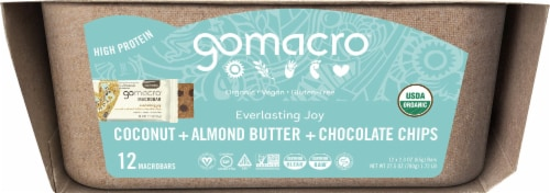 GoMacro MacroBar Coconut Almond Butter Chocolate Chip Protein Bars Perspective: left