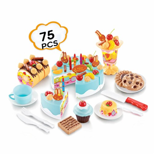 Birthday Cake Play Food Set Light Blue 75 Pieces Plastic Kitchen Cutting Toy Pretend Play Perspective: left