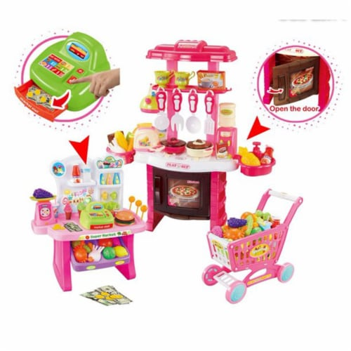 Mundo Toys 110 Piece Kitchen Set For Kids with Mini Supermarket For Girls Perspective: left
