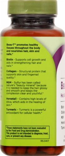 Life Seasons Beau-T Hair Skin and Nails Dietary Supplement Capsules Perspective: left