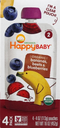 Happy Baby Organics Simple Combos Banana Beets & Blueberries Stage 2 Baby Food Perspective: left
