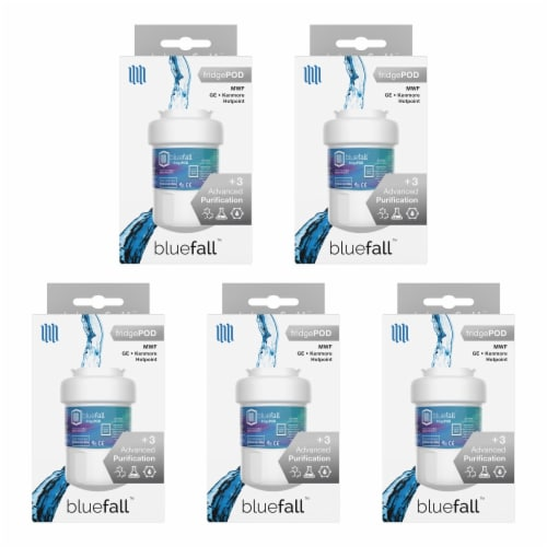 GE MWF 5PK Refrigerator Water Filter Compatible by BlueFall Perspective: left