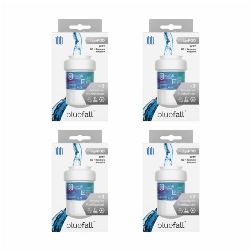 GE MWF 4PK Refrigerator Water Filter Compatible by BlueFall Perspective: left