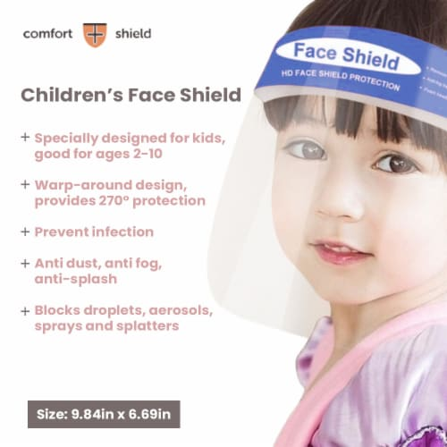 Parasol Kids Blue Face Shields with Elastic Foam Band Perspective: left